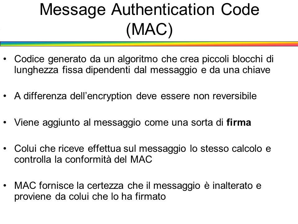 Codice generato da un algoritmo che crea piccoli blocchi di lunghezza fissa dipendenti dal messaggio e da una chiave A differenza dellencryption deve