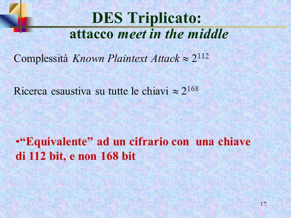 15 Compatibilità DES Triplo e DES Se k 1= k2 il DES triplo è equivalente al semplice DES DES DES -1 DES testo cifrato testo in chiaro k1 k2k2k2k2 k1 D