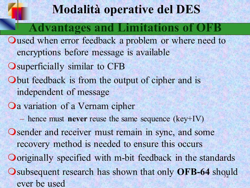 30 Modalità operative del DES Output Feedback (OFB) Output Feedback (OFB) in questo caso il collegamento avviene tra l'output del blocco precedente ed