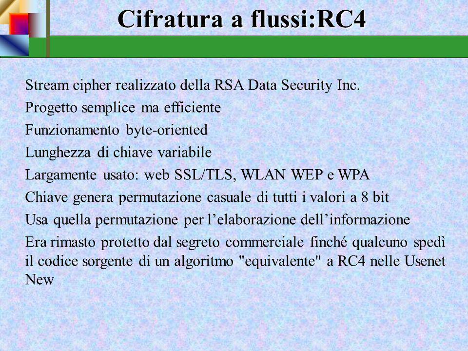 Stream Ciphers SicurezzaSicurezza La sicurezza dei cifrari a flusso è concentrata nella realizzazione di una stringa di bit di valore aleatorio lunga