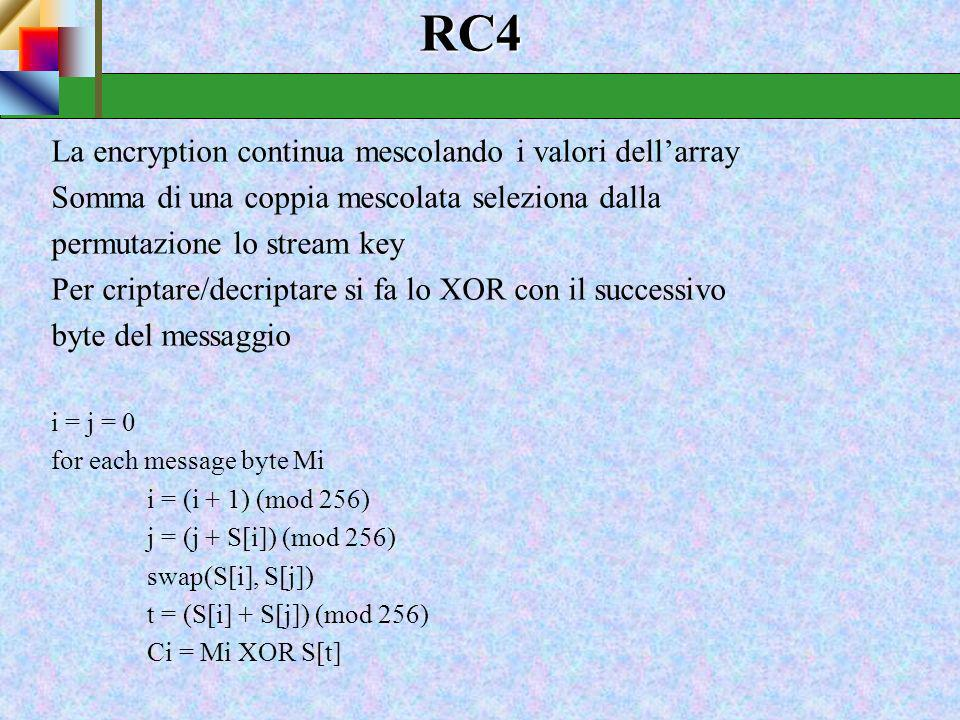 Stream cipher realizzato della RSA Data Security Inc. Progetto semplice ma efficiente Funzionamento byte-oriented Lunghezza di chiave variabile Largam