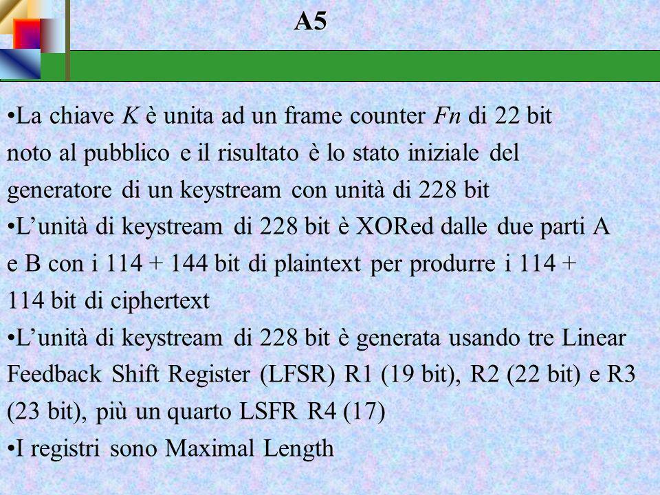RC4 Inizialmente i sistemisti Microsoft utilizzavano per la cifratura l 'algoritmo RC4. A causa di qualche problema i programmatori Microsoft implemen