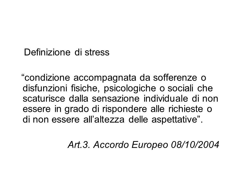 Definizione di stress condizione accompagnata da sofferenze o disfunzioni fisiche, psicologiche o sociali che scaturisce dalla sensazione individuale