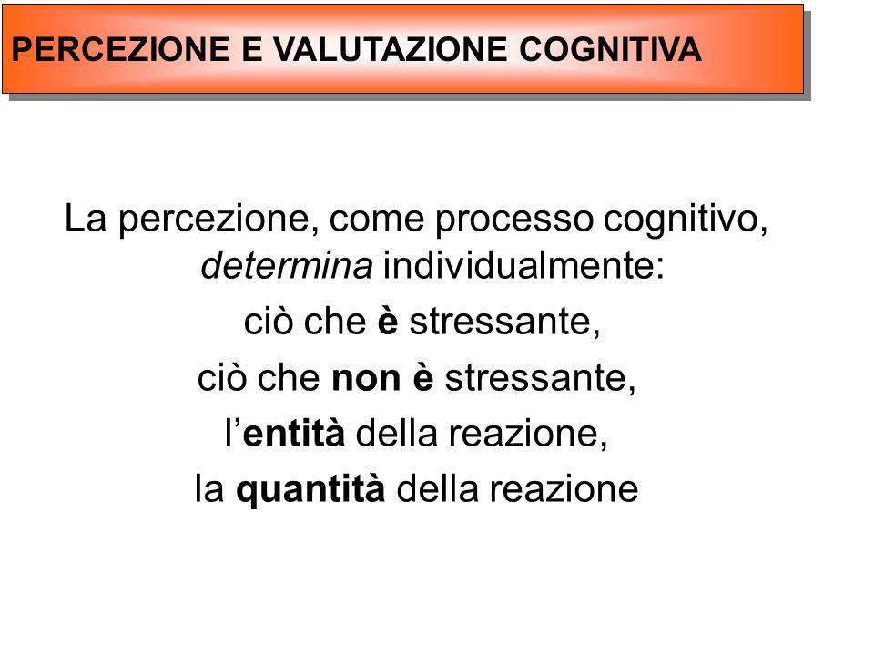 La percezione, come processo cognitivo, determina individualmente: ciò che è stressante, ciò che non è stressante, lentità della reazione, la quantità