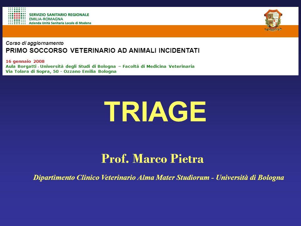 TRIAGE Dipartimento Clinico Veterinario Alma Mater Studiorum - Università di Bologna Prof. Marco Pietra Corso di aggiornamento PRIMO SOCCORSO VETERINA