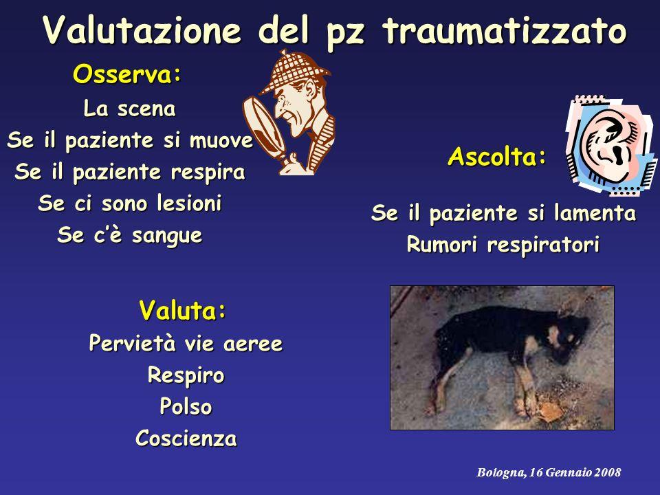 Valutazione del pz traumatizzato Osserva: La scena Se il paziente si muove Se il paziente respira Se ci sono lesioni Se cè sangue Ascolta: Se il pazie