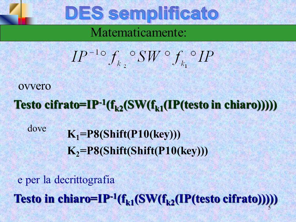 14 Crittografia S-DES Funzionamento delle S-box Il primo ed il quarto bit sono trattati come numeri a due bit che specificano una riga della S-box, il secondo ed il terzo bit di input specificano una colonna delle S-box, lelemento di matrice individuato specificano una colonna delle S-box, lelemento di matrice individuato da tali valori di riga e di colonna fornisce i due bit di output da tali valori di riga e di colonna fornisce i due bit di output Esempio: (p 0,0 p 0,3 )=00 (p 0,1 p 0,2 )=(10) (p 0,1 p 0,2 )=(10) riga 0 colonna 2 S0(0,2)=3 (11 in binario) Successivamente i 4 bit generati da S0 e S1 sono sottoposti ad una permutazione 1431P4 Loutput è la funzione F
