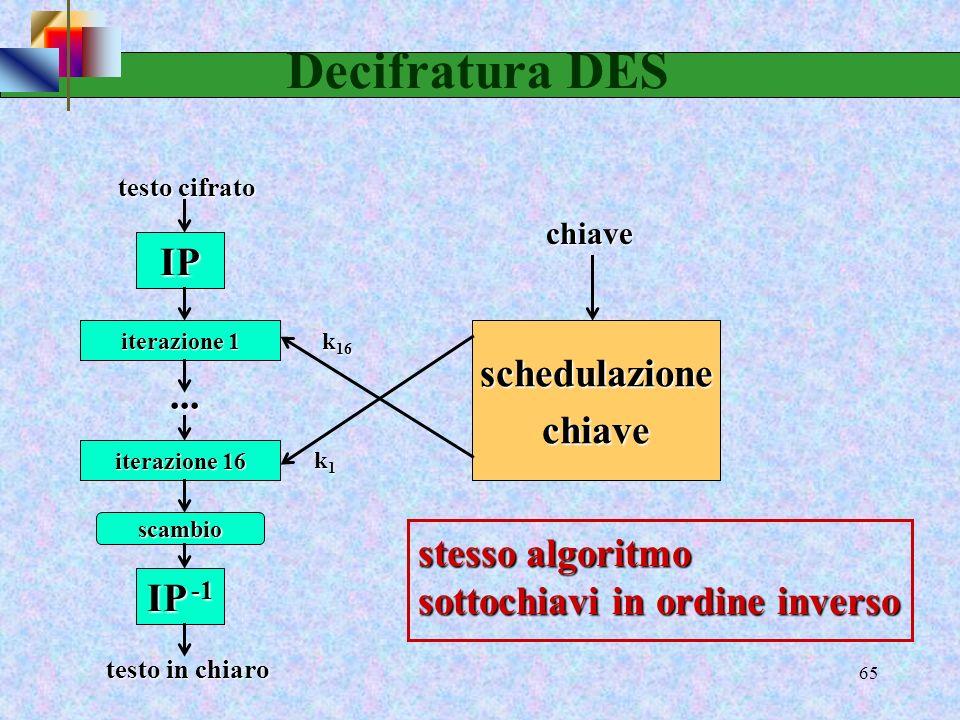 63 Scelta permutata 2 I due semiblocchi vengono quindi rielaborati utilizzando la Permuted Choise 2) che è una compressione. scelta permutata 2 (Permu