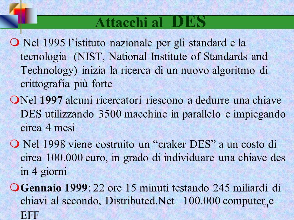 69 mNumero chiavi DES = 2 56 7,2056 ·10 16 mUn computer a 500 Mhz che testa una chiave per ciclo di clock impiega 144.115.188 secondi 834 giorni 2 ann