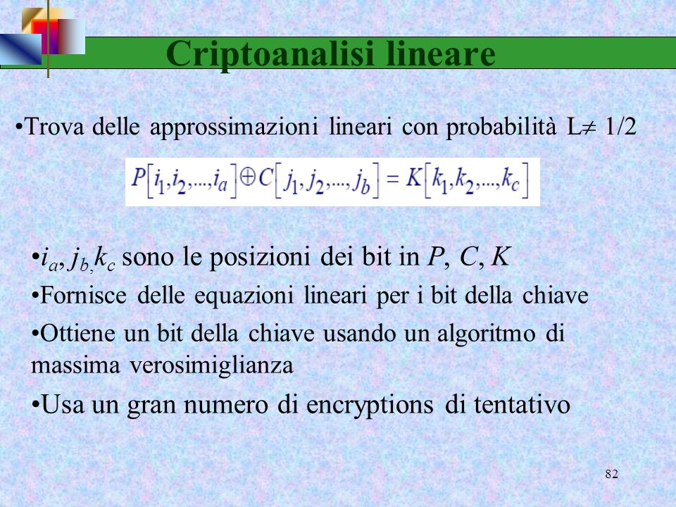 80 Criptoanalisi differenziale Vedi D. Stinson Cryptography: Theory and Practice