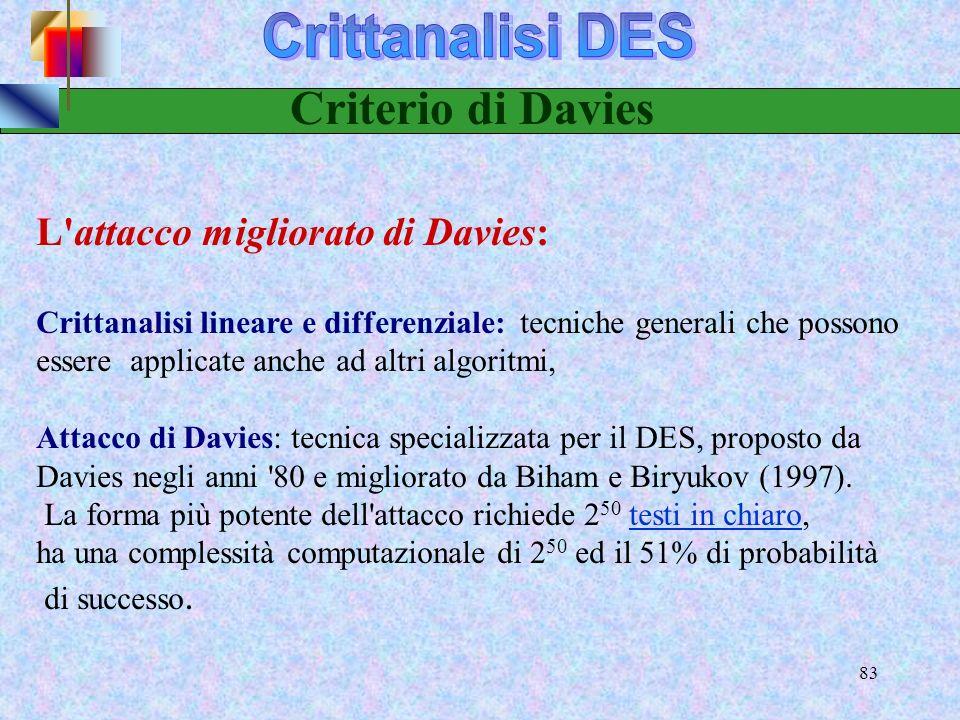 81 Criptoanalisi lineare Introdotta nel 1994 da Matsui e altri Si può recuperare la chiave del DES dallanalisi di 2 43 messaggi noti tramite unappross