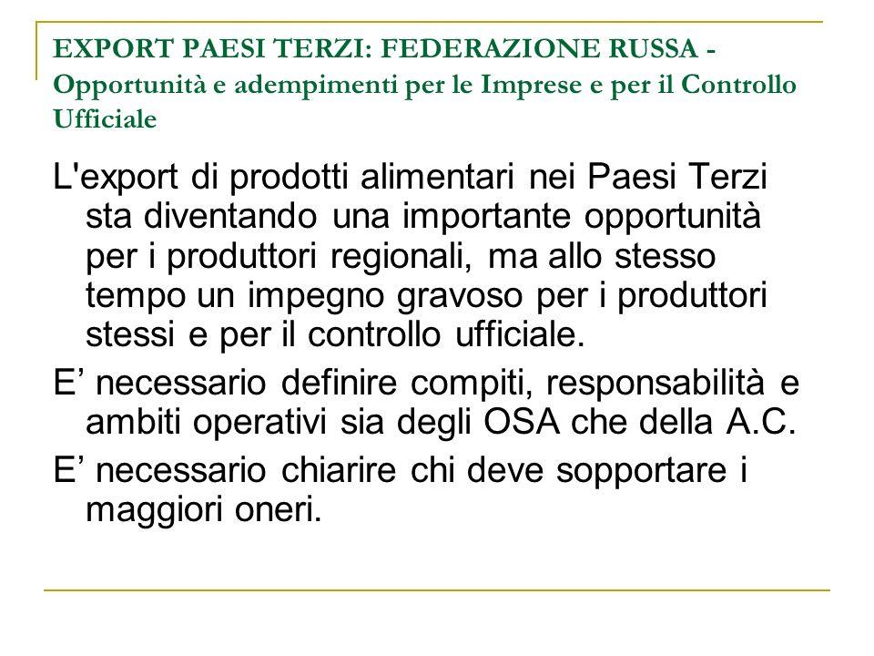 EXPORT PAESI TERZI: FEDERAZIONE RUSSA - Opportunità e adempimenti per le Imprese e per il Controllo Ufficiale L'export di prodotti alimentari nei Paes