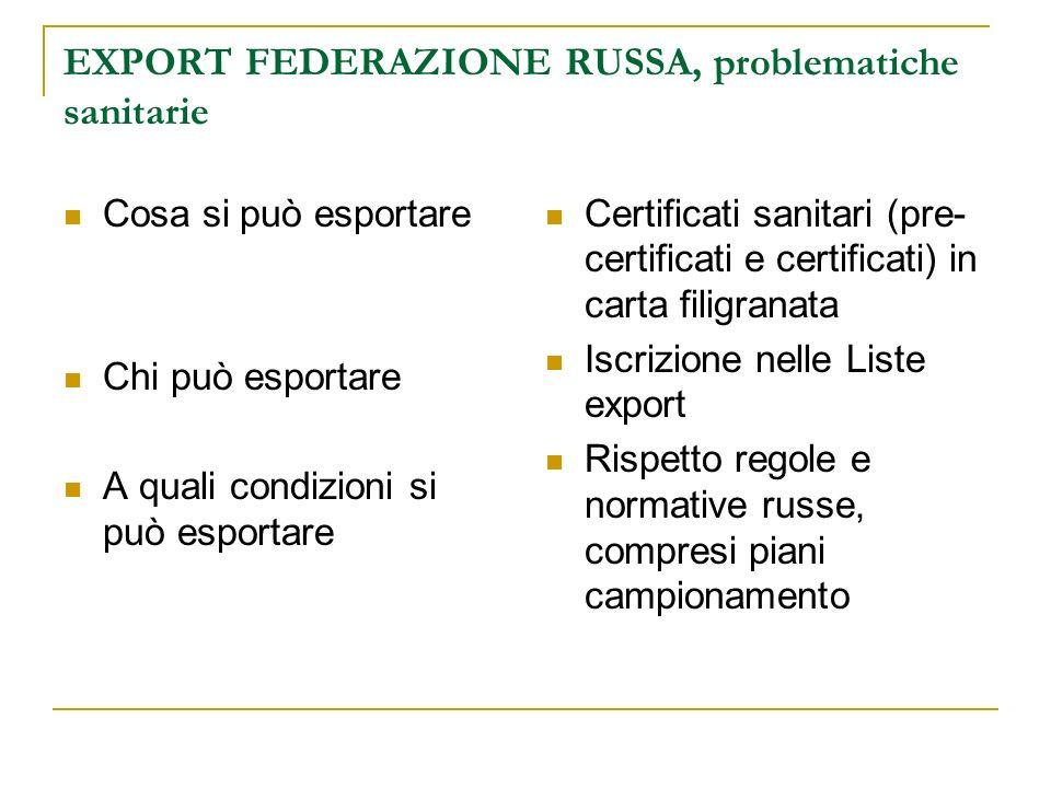 EXPORT FEDERAZIONE RUSSA, problematiche sanitarie Cosa si può esportare Chi può esportare A quali condizioni si può esportare Certificati sanitari (pr