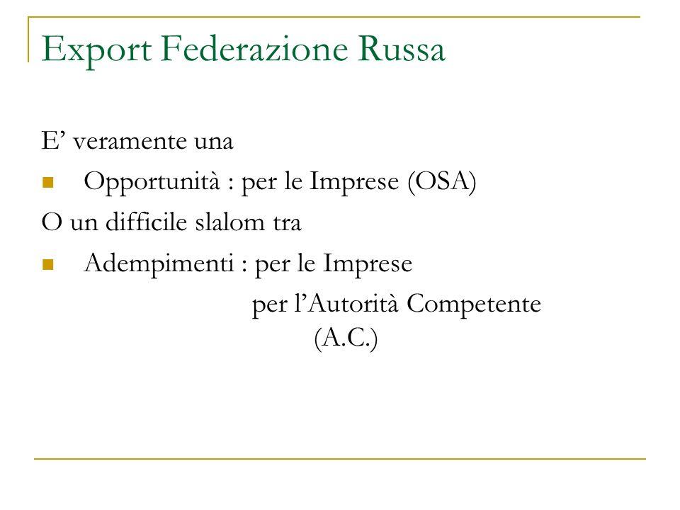 Condizioni per ottenere parere favorevole Rispetto completo regole e normative russe (http://ec.europa.eu/food/international/trade/eu-russia_spsissues_en.htmhttp://ec.europa.eu/food/international/trade/eu-russia_spsissues_en.htm Verifica rispetto requisiti comunitari di sicurezza alimentare comprensivi di GMP, SSOP, HACCP Compilazione da parte ASL di specifico verbale di sopralluogo (2)(2)