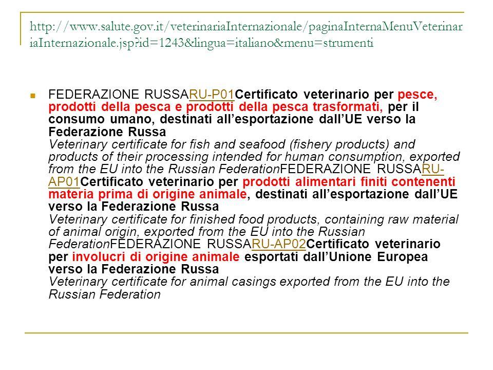 http://www.salute.gov.it/veterinariaInternazionale/paginaInternaMenuVeterinar iaInternazionale.jsp?id=1243&lingua=italiano&menu=strumenti FEDERAZIONE