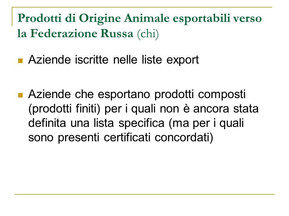 Prodotti di Origine Animale esportabili verso la Federazione Russa (chi) Aziende iscritte nelle liste export Aziende che esportano prodotti composti (