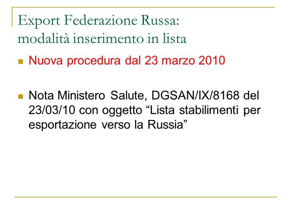 Export Federazione Russa: modalità inserimento in lista Nuova procedura dal 23 marzo 2010 Nota Ministero Salute, DGSAN/IX/8168 del 23/03/10 con oggett