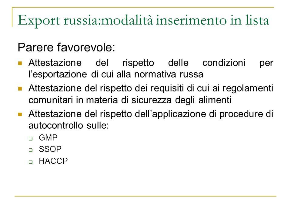 Export russia:modalità inserimento in lista Parere favorevole: Attestazione del rispetto delle condizioni per lesportazione di cui alla normativa russ