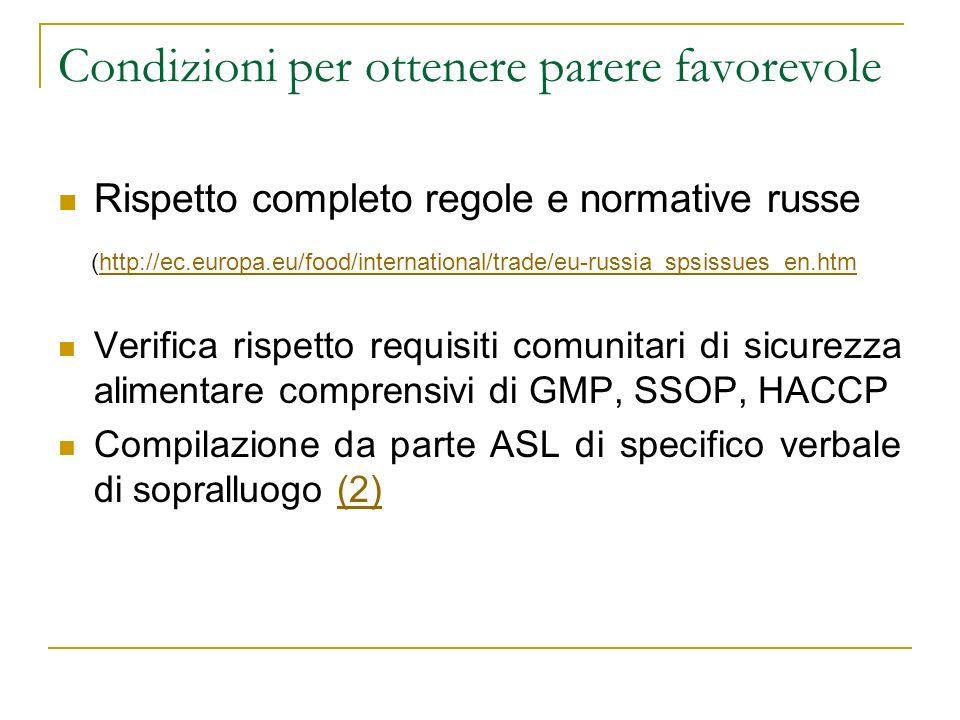 Condizioni per ottenere parere favorevole Rispetto completo regole e normative russe (http://ec.europa.eu/food/international/trade/eu-russia_spsissues