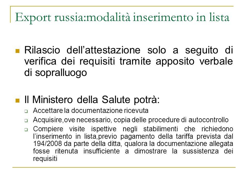 Export russia:modalità inserimento in lista Rilascio dellattestazione solo a seguito di verifica dei requisiti tramite apposito verbale di sopralluogo