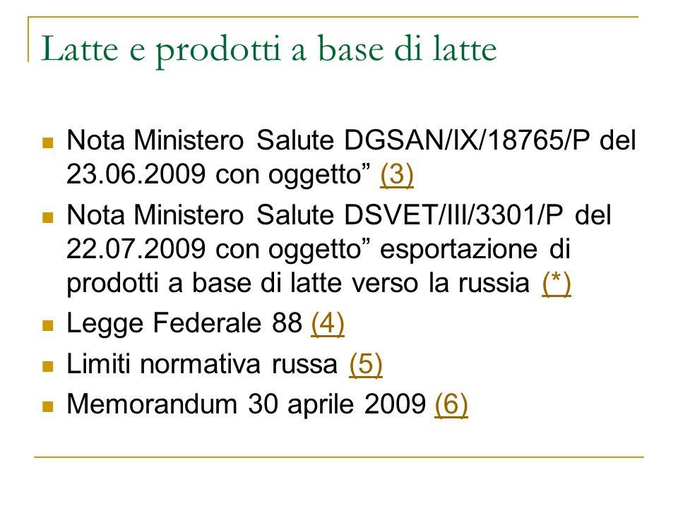 Latte e prodotti a base di latte Nota Ministero Salute DGSAN/IX/18765/P del 23.06.2009 con oggetto (3)(3) Nota Ministero Salute DSVET/III/3301/P del 2