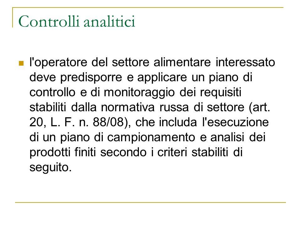 Controlli analitici l'operatore del settore alimentare interessato deve predisporre e applicare un piano di controllo e di monitoraggio dei requisiti