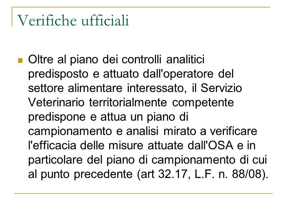 Verifiche ufficiali Oltre al piano dei controlli analitici predisposto e attuato dall'operatore del settore alimentare interessato, il Servizio Veteri