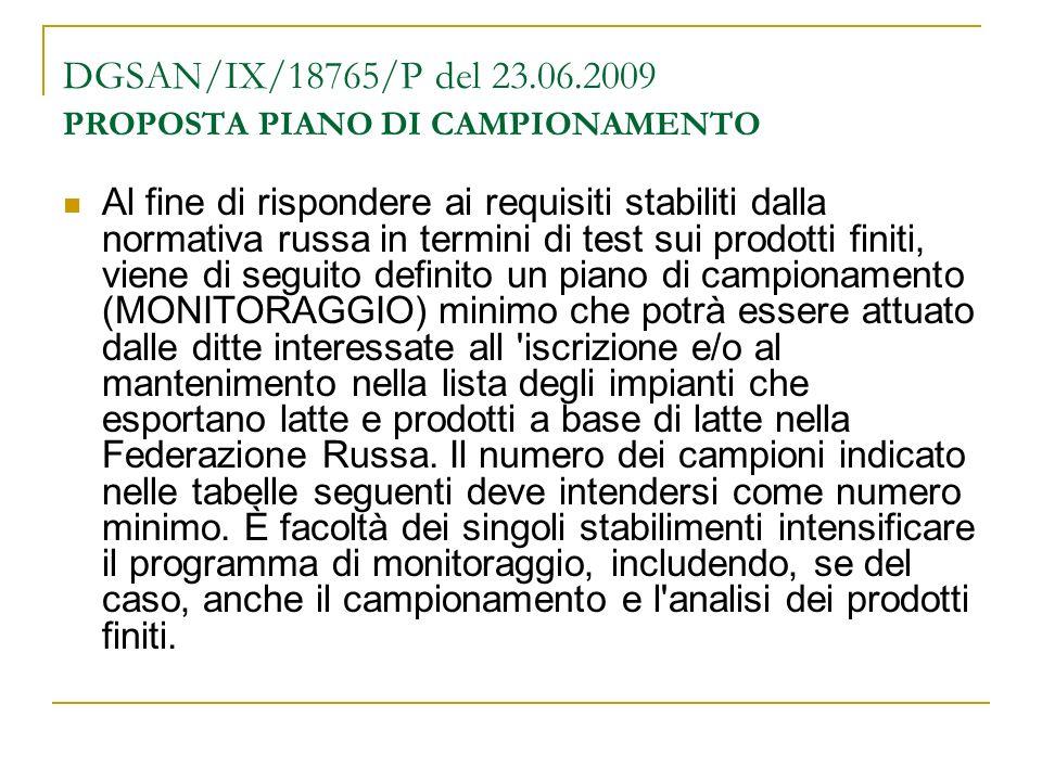 DGSAN/IX/18765/P del 23.06.2009 PROPOSTA PIANO DI CAMPIONAMENTO Al fine di rispondere ai requisiti stabiliti dalla normativa russa in termini di test