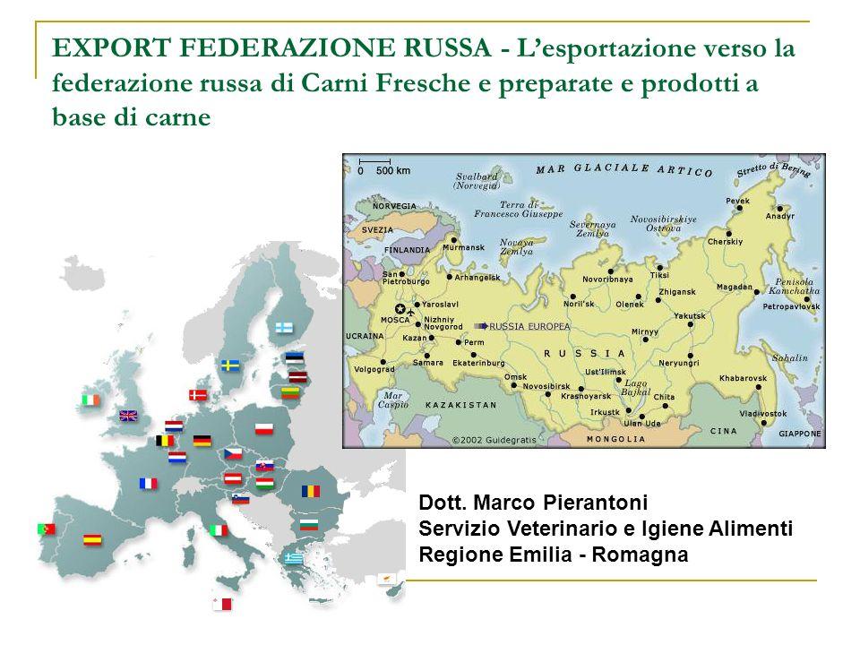 EXPORT FEDERAZIONE RUSSA - Lesportazione verso la federazione russa di Carni Fresche e preparate e prodotti a base di carne Dott. Marco Pierantoni Ser