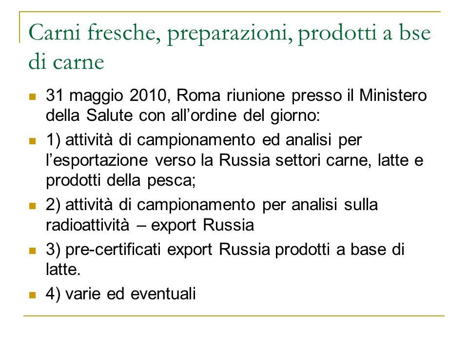 Carni fresche, preparazioni, prodotti a bse di carne 31 maggio 2010, Roma riunione presso il Ministero della Salute con allordine del giorno: 1) attiv