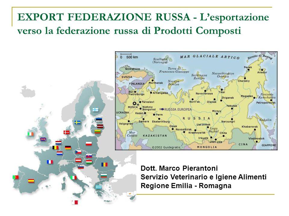 EXPORT FEDERAZIONE RUSSA - Lesportazione verso la federazione russa di Prodotti Composti Dott. Marco Pierantoni Servizio Veterinario e Igiene Alimenti
