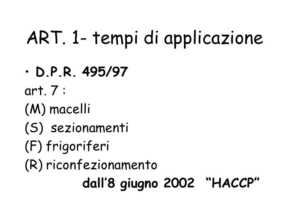 ART. 1- tempi di applicazione D.P.R. 495/97 art. 7 : (M) macelli (S) sezionamenti (F) frigoriferi (R) riconfezionamento dall8 giugno 2002 HACCP