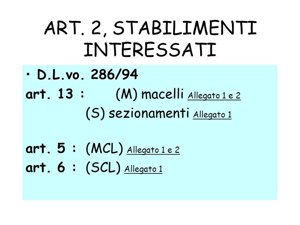 ART. 2, STABILIMENTI INTERESSATI D.L.vo. 286/94D.L.vo. 286/94 art. 13 : (M) macelli Allegato 1 e 2 (S) sezionamenti Allegato 1 art. 5 : (MCL) Allegato