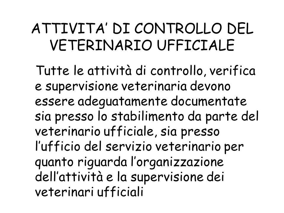 ATTIVITA DI CONTROLLO DEL VETERINARIO UFFICIALE Tutte le attività di controllo, verifica e supervisione veterinaria devono essere adeguatamente docume