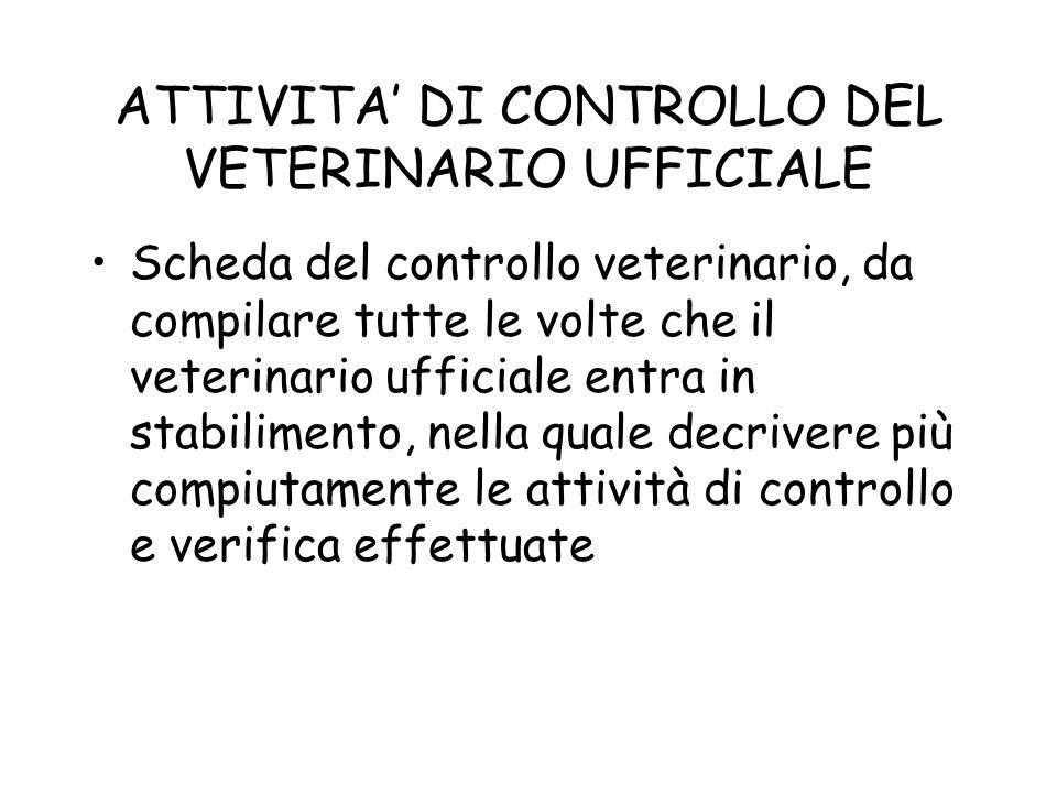 ATTIVITA DI CONTROLLO DEL VETERINARIO UFFICIALE Scheda del controllo veterinario, da compilare tutte le volte che il veterinario ufficiale entra in st