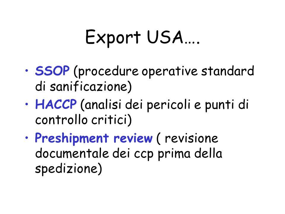 Export USA…. SSOP (procedure operative standard di sanificazione) HACCP (analisi dei pericoli e punti di controllo critici) Preshipment review ( revis