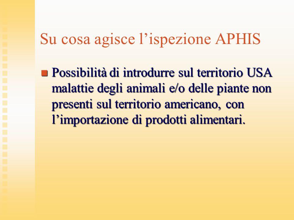 Su cosa agisce lispezione APHIS Possibilità di introdurre sul territorio USA malattie degli animali e/o delle piante non presenti sul territorio ameri