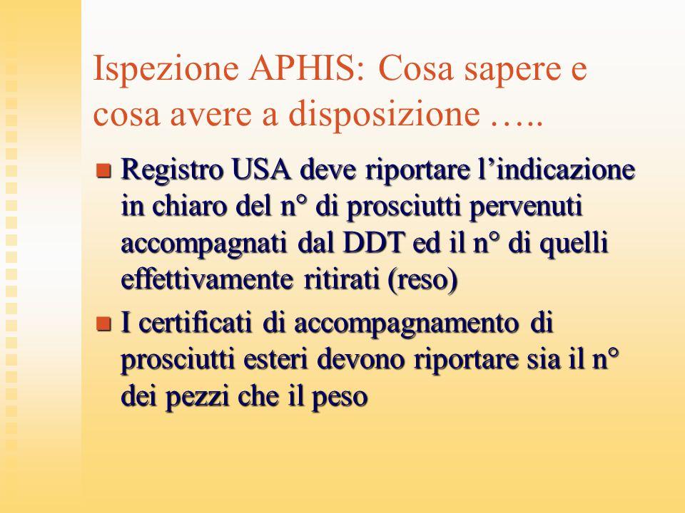 Ispezione APHIS: Cosa sapere e cosa avere a disposizione ….. Registro USA deve riportare lindicazione in chiaro del n° di prosciutti pervenuti accompa