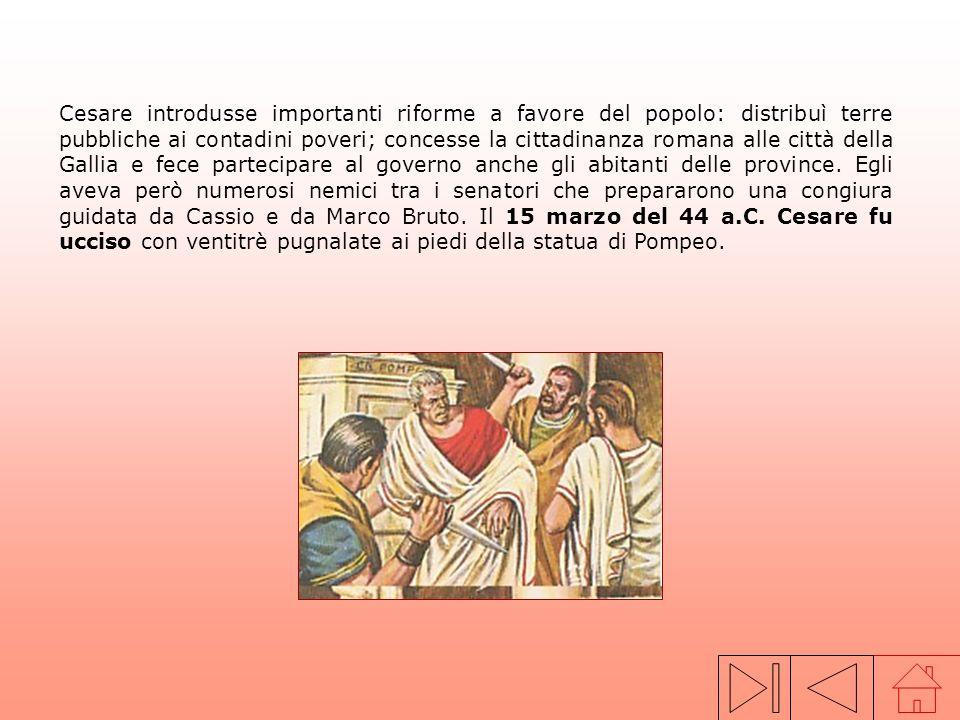 Dopo la morte di Silla, Gneo Pompeo, del partito aristocratico, strinse unalleanza politica con Caio Giulio Cesare, capo del partito popolare, e con C