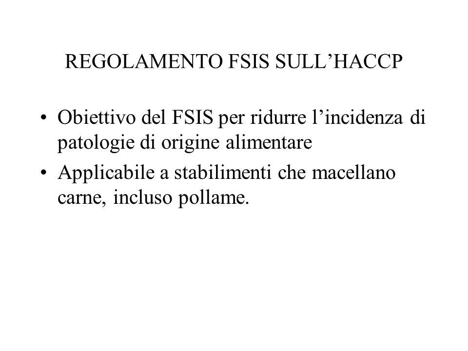 REGOLAMENTO FSIS SULLHACCP Obiettivo del FSIS per ridurre lincidenza di patologie di origine alimentare Applicabile a stabilimenti che macellano carne, incluso pollame.