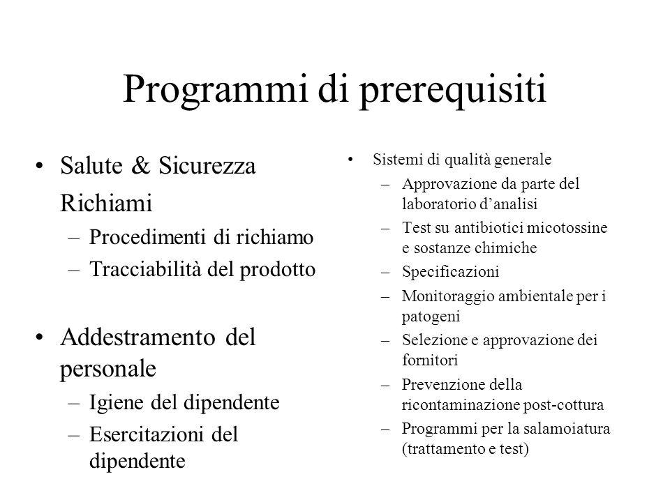 Programmi di Prerequisiti Sanitizzazione –Controllo degli infestanti –Pulizie di routine –Pulizia periodica Pulizia dellattrezzatura –Ispezione preope