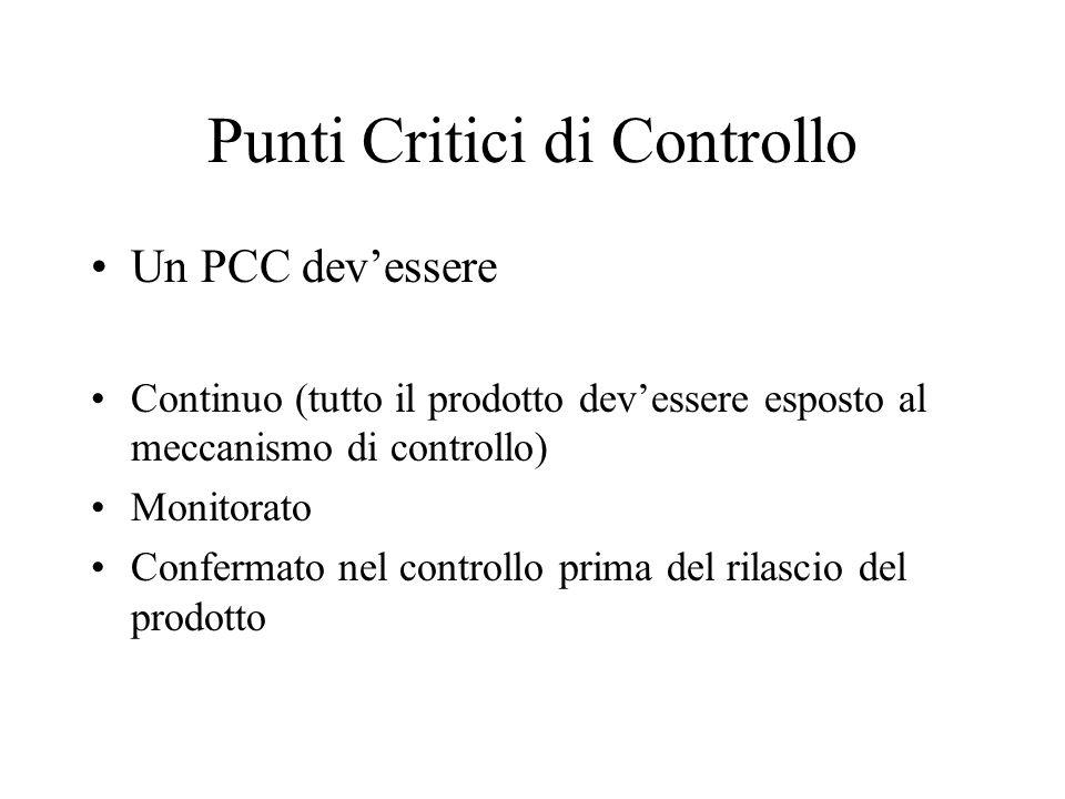 Definizione: Punto critico di controllo: un punto in un processo in cui i controlli possono e devono essere applicati per prevenire, eliminare o comun