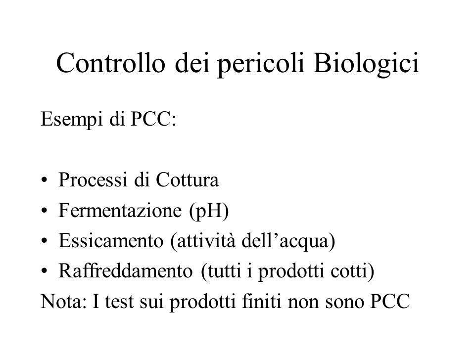 Controllo del pericolo Biologico Il controllo dei patogeni è molto specifico per il prodotto e il processo. Nella valutazione dei pericoli biologici d