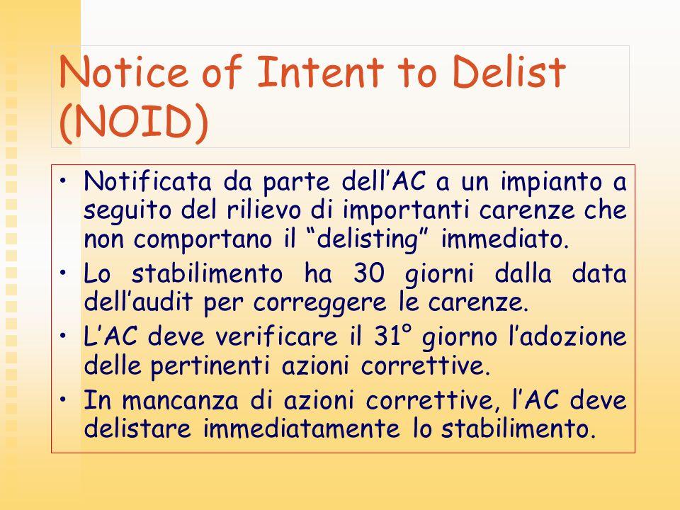 Notice of Intent to Delist (NOID) Notificata da parte dellAC a un impianto a seguito del rilievo di importanti carenze che non comportano il delisting
