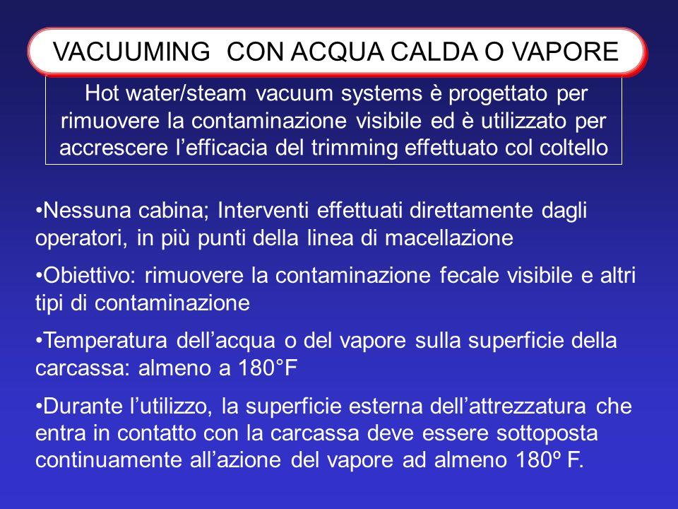 Hot water/steam vacuum systems è progettato per rimuovere la contaminazione visibile ed è utilizzato per accrescere lefficacia del trimming effettuato