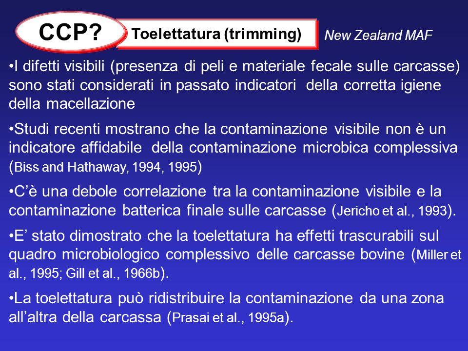 I difetti visibili (presenza di peli e materiale fecale sulle carcasse) sono stati considerati in passato indicatori della corretta igiene della macel
