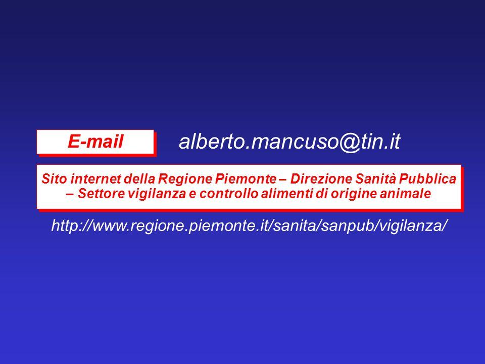 alberto.mancuso@tin.it http://www.regione.piemonte.it/sanita/sanpub/vigilanza/ Sito internet della Regione Piemonte – Direzione Sanità Pubblica – Sett