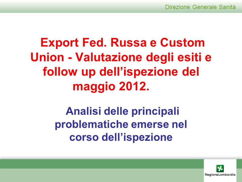 Direzione Generale Sanità Export Fed.