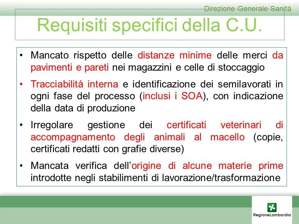 Direzione Generale Sanità Requisiti specifici della C.U.