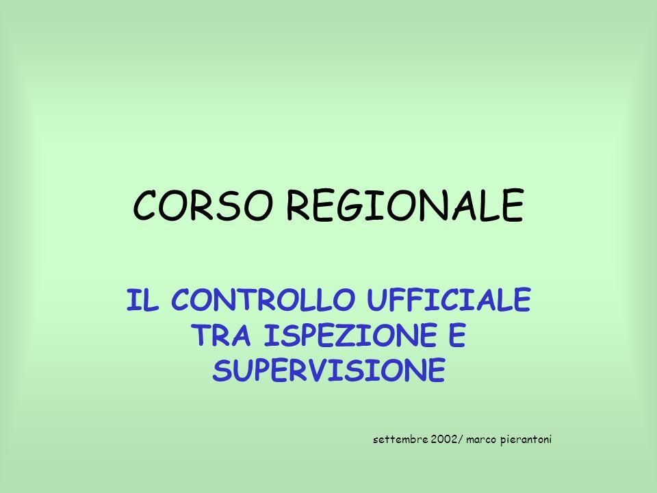 CORSO REGIONALE IL CONTROLLO UFFICIALE TRA ISPEZIONE E SUPERVISIONE settembre 2002/ marco pierantoni